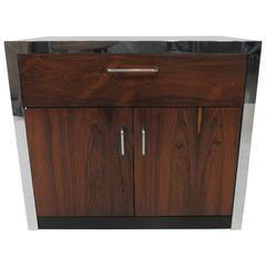 Rosewood and Chrome Nightstand in the Manner of Milo Baughman