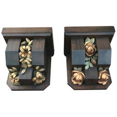 Pair Gothic Revival Wall Brackets or Consoles with Beautifully Roses & Lilies