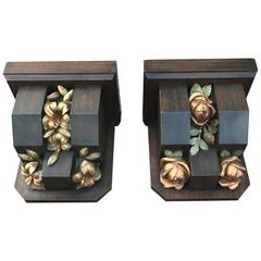 Huge Pair of Oak Wall Brackets with Beautifully Carved & Painted Roses & Lilies