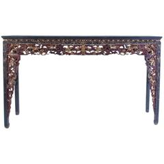 Antique Chinese Carved Hand-Painted Altar Table