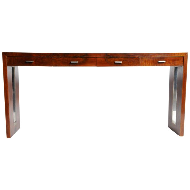 Four-Drawer Console Table with Metal Inlay