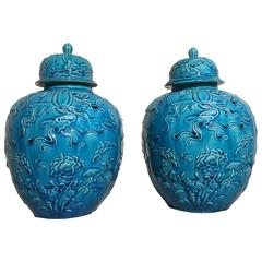 Pair of Chinese Qing Dynasty over Molded Turquoise Melon Jars and Covers
