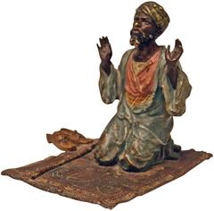 Vienna Bronze Made by Franz Bergman(N) Arab Man Praying on Carpet