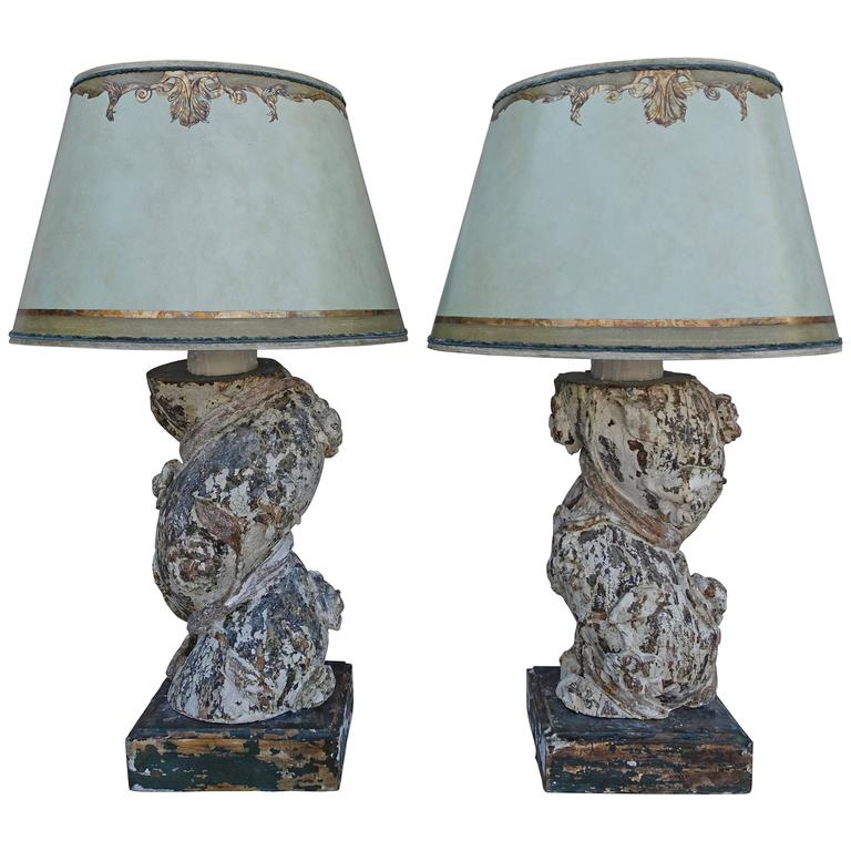 Pair of 19th Century Italian Column Lamps with Shades 1