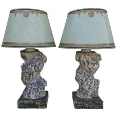 Pair of 19th Century Italian Column Lamps with Shades