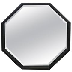 Large Ebonized Octagonal Bevelled Mirror