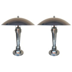 Pair of Art Deco Style Chrome Lamps