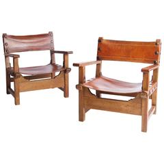 Spanish Oak and Saddle Leather Armchairs