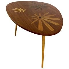 Mid-Century Table with Marquetry Floral Design