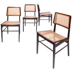 Set of Four Jacaranda and Cane Chairs by Joaquim Tenreiro