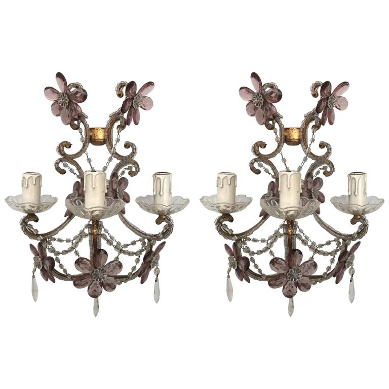 Italian Crystal Wall Lights : Pair of Italian Gilt Iron and Crystal Wall Lights, Circa 1940 For Sale at 1stdibs
