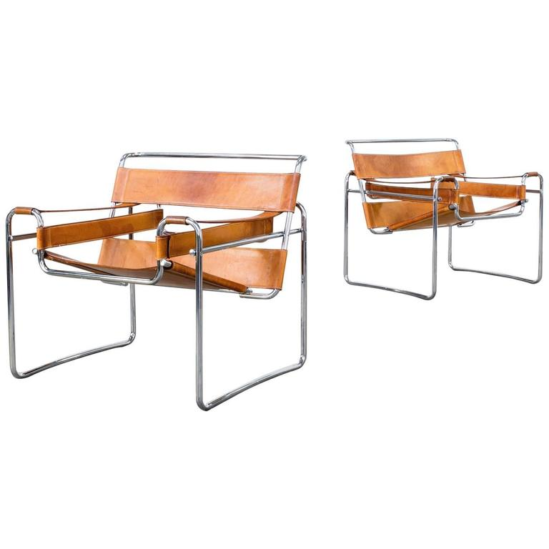 Marcel breuer wassily b3 chair for gavina italy set of for Chaise wassily