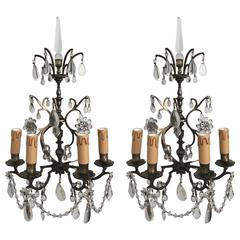 Antique Pair of French Silver Bronze Wall Lights, circa 1800