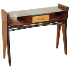 Console Rosewood Veneer Glass Vintage Manufactured in Italy, 1950s