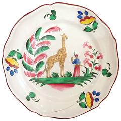 Les Islettes Faience Dish with a Giraffe, circa 1827-1828