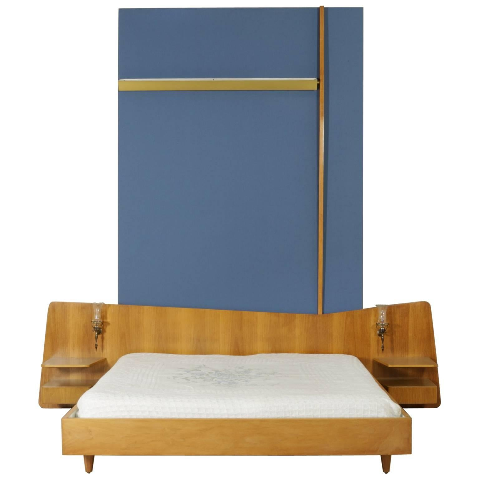Double Bed with Nightstands Walnut Veneer Fabric Brass-Plated Vintage, Italy