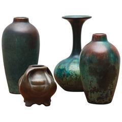 Charles Walter Clewell Copper-Clad Ceramic Vases, 1920s