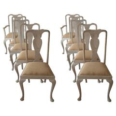 Harlequin Set of Ten ( 10 ) Antique Gustavian Style Limed Oak Dining Chairs
