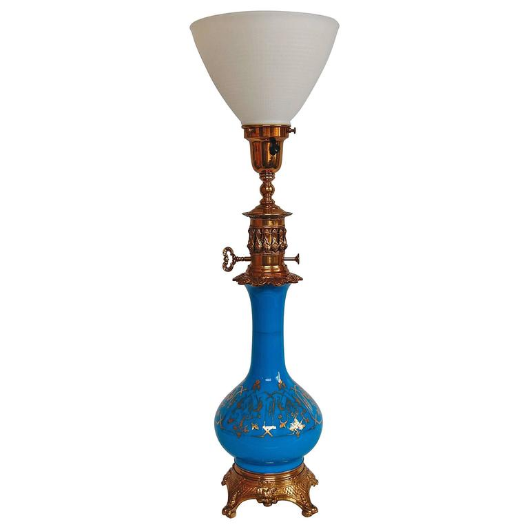 Blue Opaline Glass French Oil Lamp, circa 1880