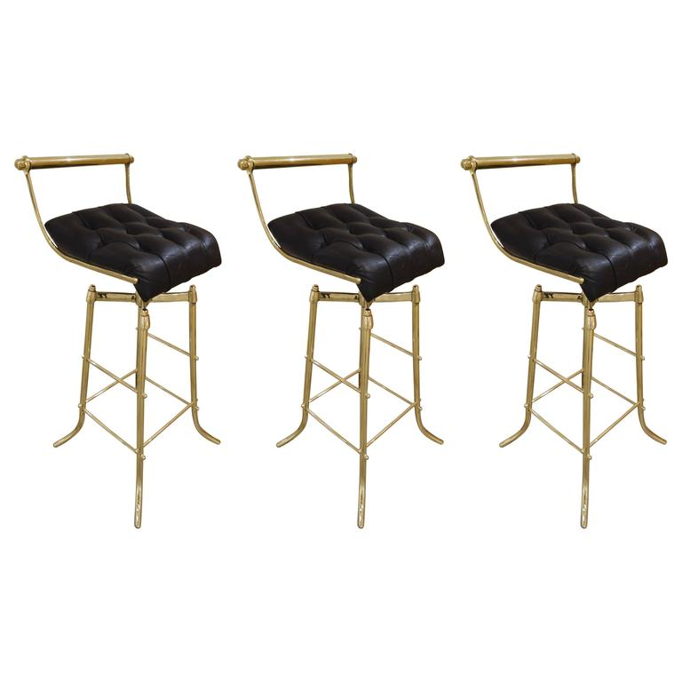 Set of Three Italian Mid-Century Brass Adjustable Bar Stools with Swivel Seats 1
