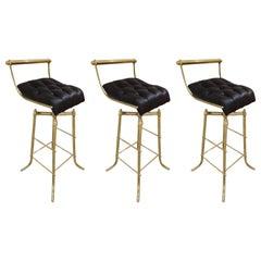Set of Three Italian Mid-Century Brass Adjustable Bar Stools with Swivel Seats