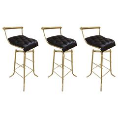 Set of Three Italian Mid-Century Brass Adjustable Bar Stools with Swivel Seats