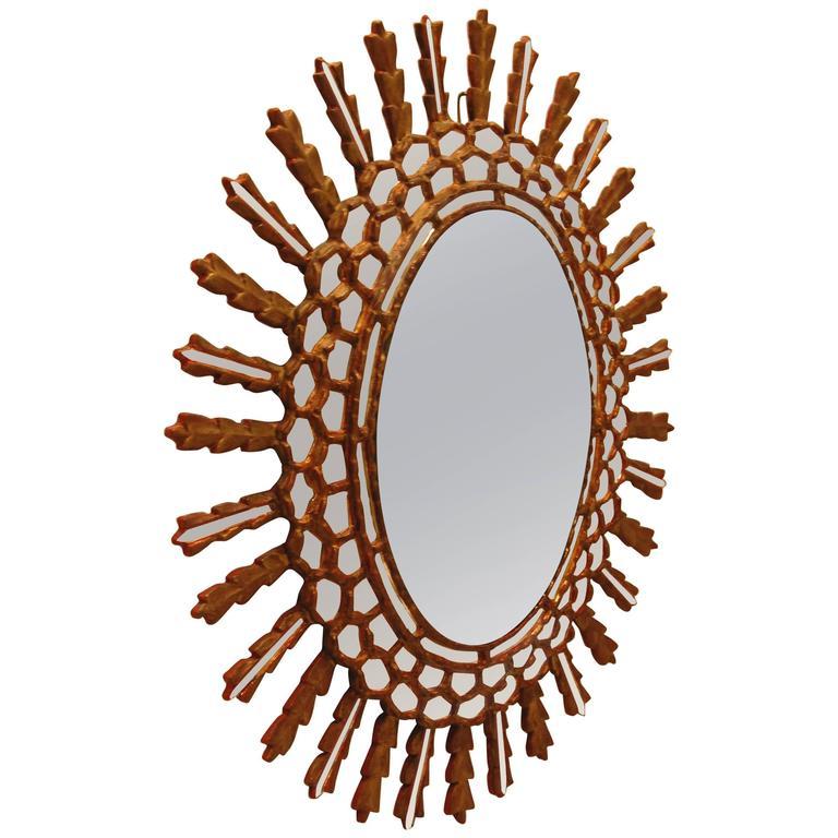 Oval Italian Sunburst Style Wall Mirror, Mid-20th Century