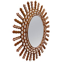 Oval Gold Leaf Italian Sunburst Style Wall Mirror, Mid-20th Century
