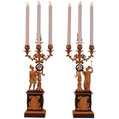 Pair of French Ormolu and Gilt Bronze Four-Light Candelabras, circa 1830