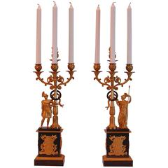 Pair of French Ormolu and Gilt Bronze Four-Light Candelabras, circa 1830