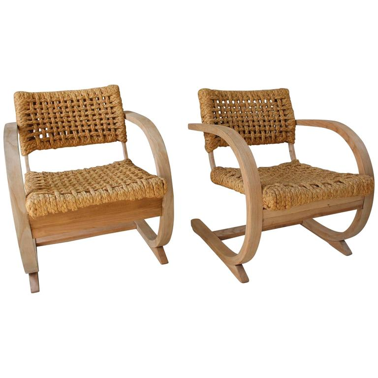 1950s French Pair of Similiar Raw Bentwood and Rope Chairs 1
