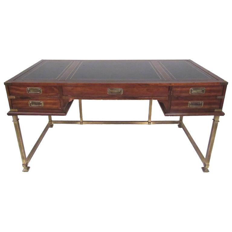 Sligh Leather Top Campaign Style Desk At 1stdibs