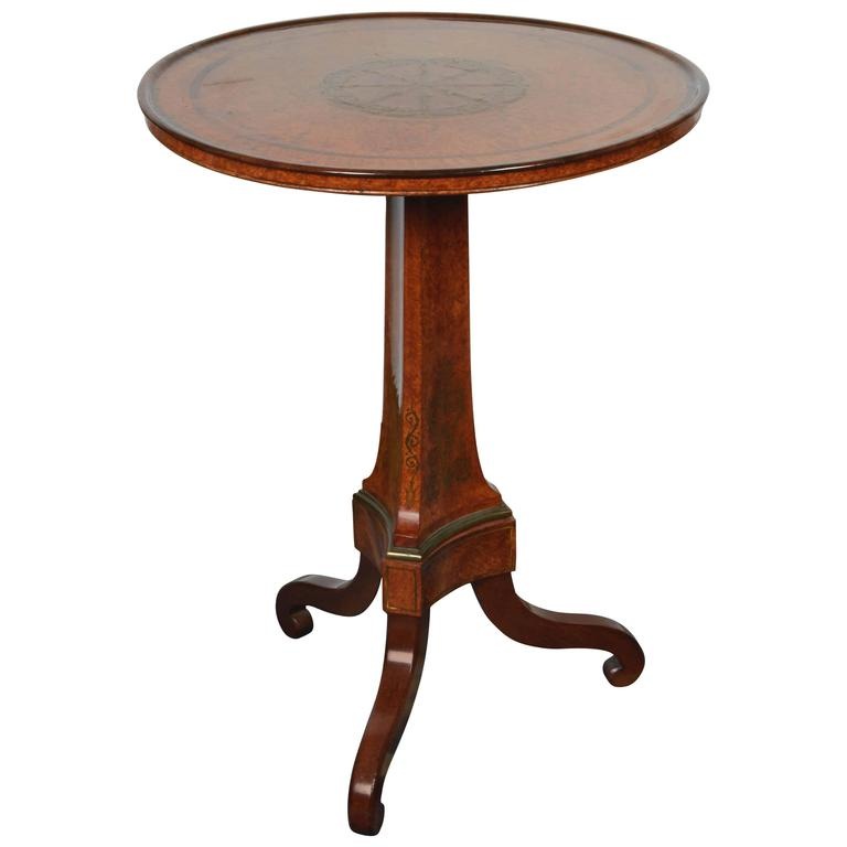 Burled Walnut Tea Table with Dish Top For Sale