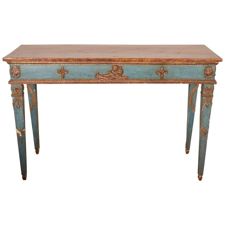 Italian Neoclassical Style Parcel-Gilt and Painted Console Table 1