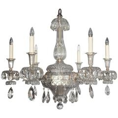 An Exceptional French Art Deco Molded and Cut-Crystal Six-Light Chandelier