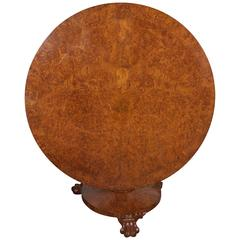 English Late Regency Burled Walnut Center Table