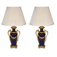 Pair of Louis XVI Style Ormolu-Mounted Blue Ground Porcelain Oil Lamps