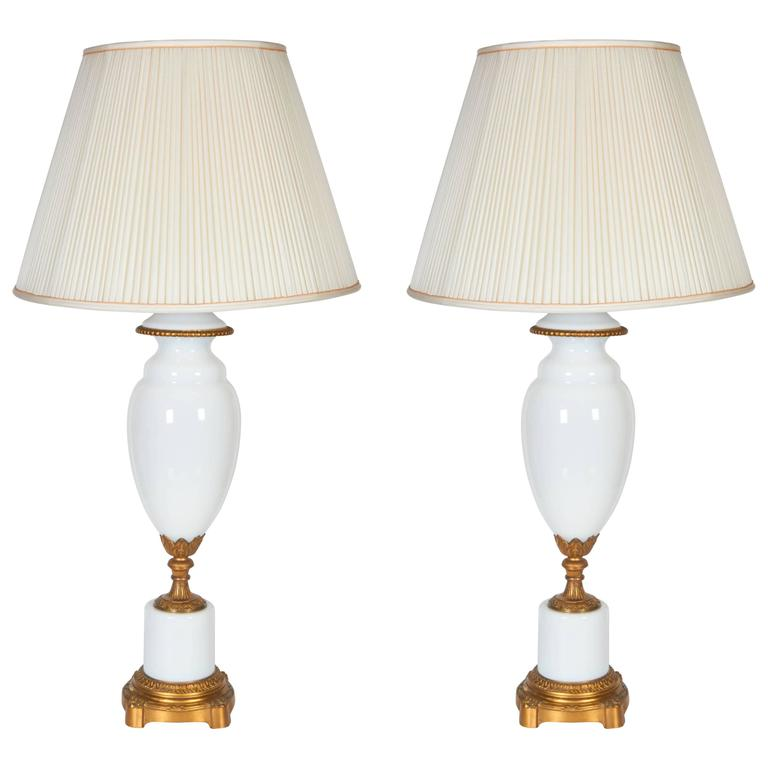 Pair of Gilt Bronze Mounted Opaline Glass Lamps For Sale