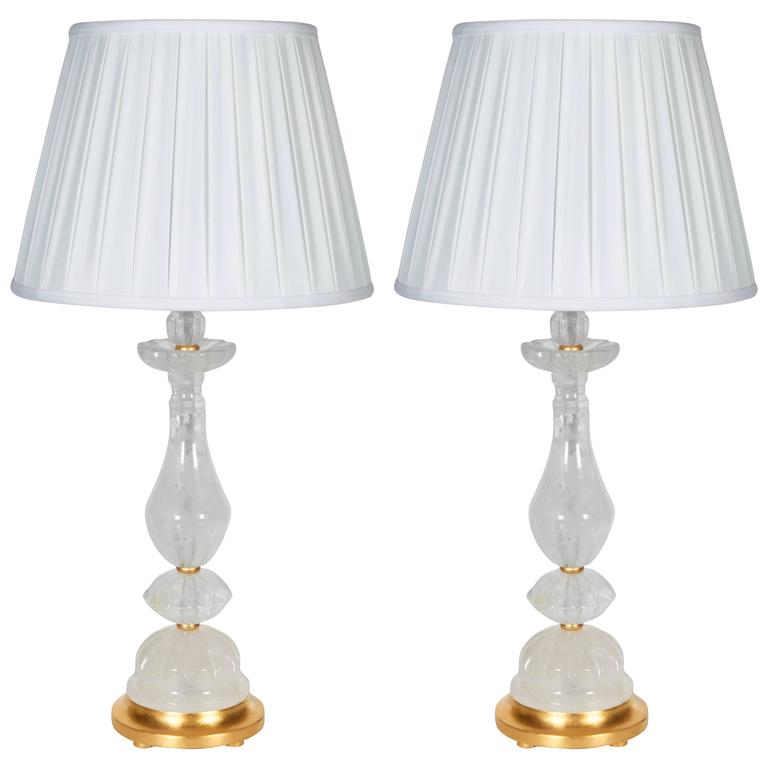 A Pair of New Rock Crystal Lamps For Sale