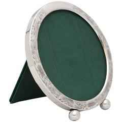 Edwardian Sterling Silver Round Picture Frame on Ball Feet