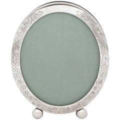 Unger Brothers Edwardian Sterling Silver Etched Oval Picture Frame on Ball Feet