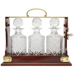 Edwardian Brass-Mounted Wood Three Bottle Tantalus