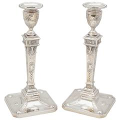 Tall Pair of Edwardian Sterling Silver Adam Style Candlesticks