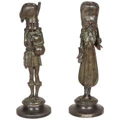 Pair of Cossack & Bagpiper Spelter Candlesticks