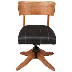 Oak Desk Chair with Adjustable Height and Sprung Seat