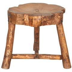 Organically Shaped Rustic Butcher Block Stool