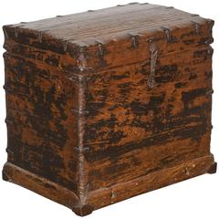 Perfectly Worn Antique Chest with Original Iron Fittings
