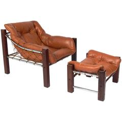 Exotic Rosewood and Leather Brazilian Lounge Chair and Ottoman by Jean Gillon
