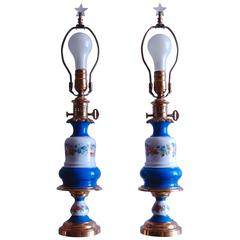 Pair of French Porcelain Oil Lamps, Likely Sevres, circa 1850