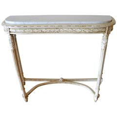 Louis XVI Style Painted Console Table with Carrara Marble Top